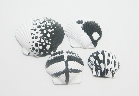 SALE Black and White Hand Painted Sea Shells WAS 6.99