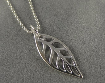 Sterling Leaf Charm Necklace - Fall Jewelry - Simple, Everyday