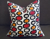 18 x 18 Mid-Century Modern Red Gold Black White Pillow Cover Contemporary Decorator Toss Throw Accent Pillow Cover