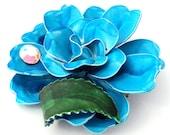 Vintage Enamel Flower Brooch Large 1960s Enamel Rose Brooch Blue Rhinestone Accent DIMENSIONAL