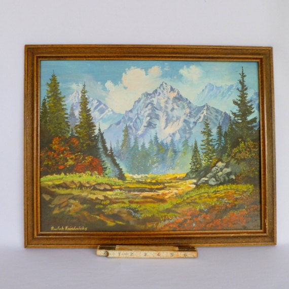 Mid Century Landscaping: Original MID CENTURY LANDSCAPE/ Oil Painting By