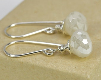 White Pearl Chalcedony Gemstone Dangle Earrings, Wire Wrapped Sterling Silver Kristin Noel Designs