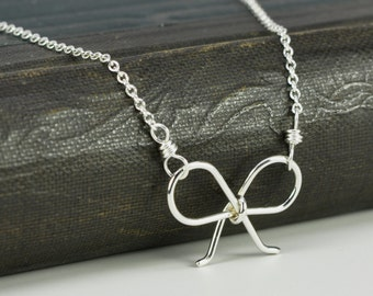 Tiny Bow Necklace Sterling Silver Miniature Charm Tied Ribbon, Kristin Noel Designs