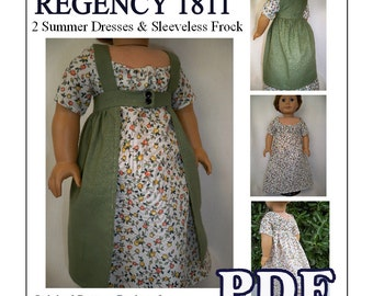 Regency 1811 Summer Dresses and Sleeveless Frock Pattern for American Girl or 18 inch doll - INSTANT DOWNLOAD
