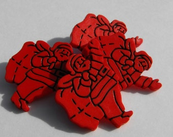 """8 Red Santa with Bag Shank Buttons Size 7/8"""""""