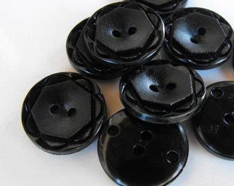 15 Black Geometric Flower Large Round Buttons Size 13/16""