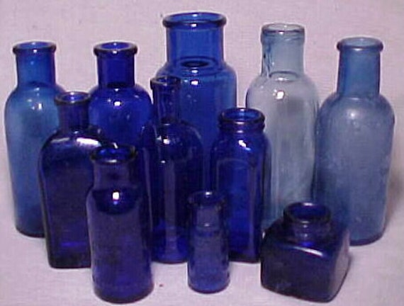 c1890- 1920 Group of 11 Cobalt Blue Glass Cork Top Medicine ,Cosmetic and Ink Bottles, Great Wedding Lot