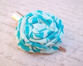 B L O O M - Teal Blue Turquoise Floral Patterned Fabric Flower Silver Alligator Hair Clip