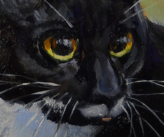 NEW LISTING Black White Tuxedo Cat small oil painting on birch panel. Commissions available