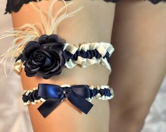 Vintage Ivory & Navy Blue Satin Rose and Feather Wedding Bridal Garter SET