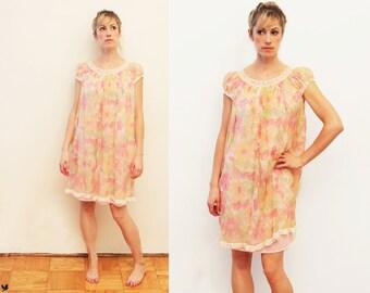 Vintage 60s Pastel NIghtie, Sheer Floral Negligee, Babydoll Nightie Dress, Flowing babydoll nightie nightgown