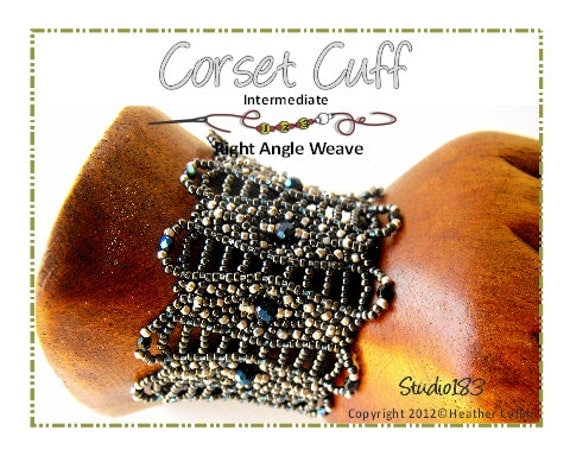 Beading Pattern, Instructions, Tutorial, Right Angle Weave. RAW Embellished Wide Cuff  Instant Download CORSET CUFF