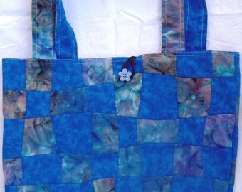 Handmade blue quilted handmade tote bag