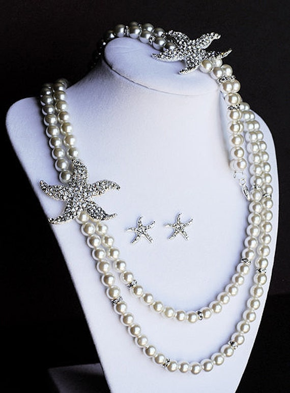 Bridal Pearl Rhinestone Necklace Bracelet Earring Crystal STARFISH White Or Ivory Beach Wedding Jewelry Set ST003LX