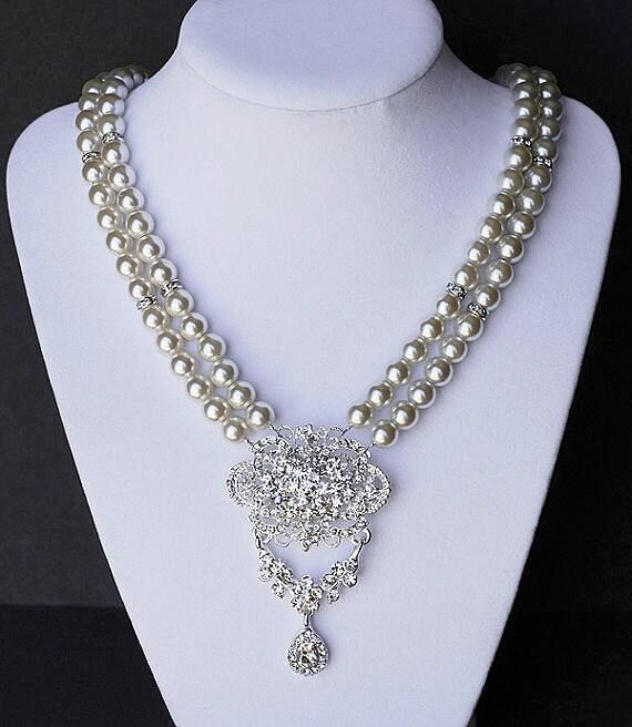 Bridal Pearl Rhinestone Necklace Double Strand Wedding Jewelry Crystal Flower Pendant NK013LX