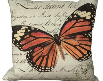 Monarch Butterfly in Choice of 14x14 16x16 18x18 20x20 22x22 24x24 26x26 inch Pillow Cover