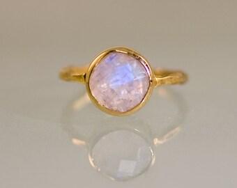 Rainbow Moonstone Ring Gold, June Birthstone Ring, Solitaire Ring, Gemstone Ring, Stacking Ring, Round Ring, Gift For Her, Boho Ring