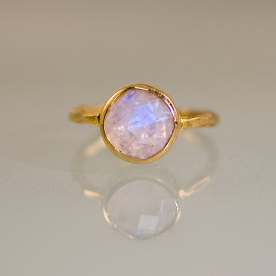 May The 4th Be With You Necklace: Rainbow Moonstone Ring Gold June Birthstone Ring Solitaire