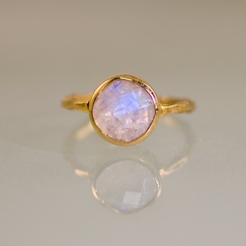 Rainbow Moonstone Ring Gold June Birthstone Ring Solitaire
