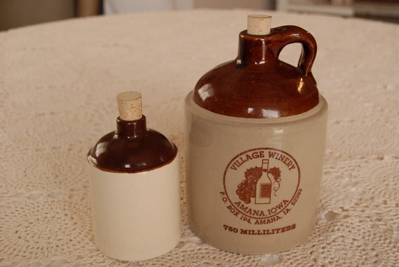 Village Winery Bottle and Small Ceramic Bottle