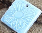 BLUE FLORAL - square floral ceramic pendant