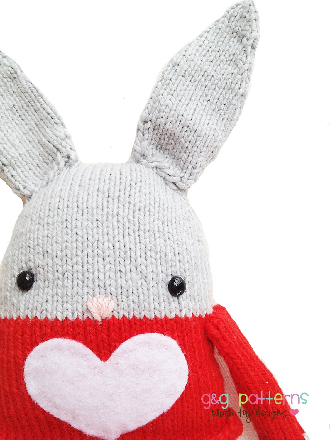 Beret Hat Knitting Pattern : Bunny Knitting Pattern Toy Easter Bunny Softie by GandGPatterns