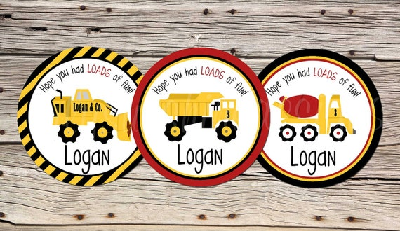 DIY Construction Truck Birthday Gift or Favor Tags