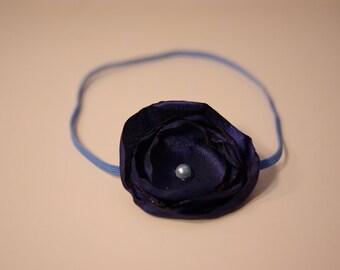 Navy Blue Satin Singed Flower Headband Newborn-6Months Photography Prop