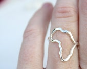 Africa ring outline of Africa delicate ring African continent ring sterling silver African jewelry