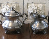 Antique Silver Cream and Sugar Set / Simpson Hall and Miller Co