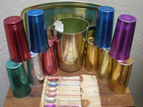 Reserved For Disney -Atomic Aluminum Rainbow Drinkware Set  Piece With Picther -Tray-Tumblers & Teaspoons Iconic Vintage Great For Barware