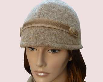 Preppy Hiker Beanie Hat with Visor Front, Fitted Newsboy Cap In Chunky Cashmere Blend Knit in Light Brown, Honey Beige