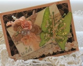Shabby chic Vintage style Big Butterfly Wish Embelllished Handmade card
