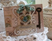 Shabby Chic Vintage Inspired Love is the Key that Opens the Heart All Occasion Embellished Handmade card