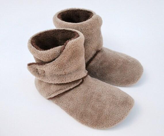 Women's Wrap Around Slippers  - Mocha and Chocolate Minky