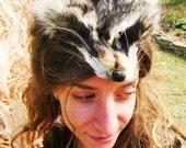Ceremonial Raccoon Face & Tail Head Dress w Braided Black Buckskin