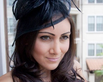 "Black Twist Mesh Fascinator - ""Victoria"" Black Mesh Fascinator Hat Headband with Black Flighty Feathers"