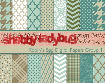 "Robin's Egg Digital Paper Collection Group 1: 16 Individual 12x12"" 300 dpi digital scrapbook papers"
