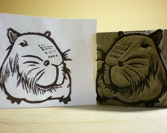 "Capybara stamp- 2"" x 2"" Hand Carved Linoleum Block - Made to Order"