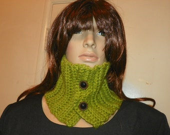 Pistachio Soft Green Cowl Neck Warmer  with two Victorian Style Buttons Hand Crochet