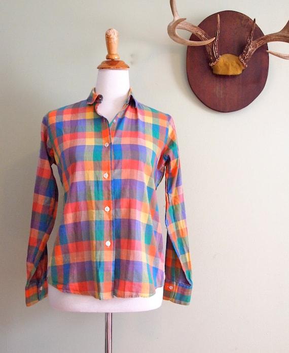 Vintage Plaid Shirt Women's Small // Neiman Marcus Blouse