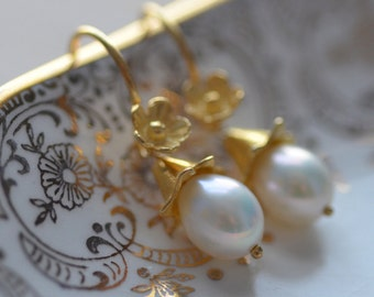 Pearl Earrings Flowers Delicate Gold Vermeil White Fresh Water Pearl  Weddings Brides Bridesmaids Graduation Prom  Black Tie