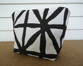 Zipper bag -- black and white sketchy grid -- canvas flat bottom pouch