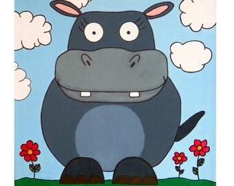 "Original Hippo Animal Painting: Large 18""x18"" acrylic on mounted canvas"
