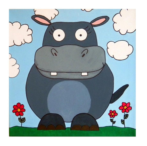 "Original Hippo Animal Painting: Large 18""x18"" acrylic on mounted canvas"