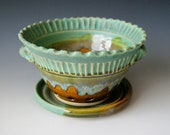 Berry Bowl with Saucer / Handmade Pottery / Fluted with Handles / Moss Green and Amber Honey Brown