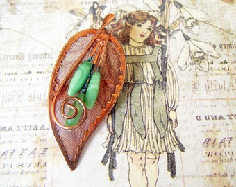 Vintage Copper Mesh Leaf Brooch