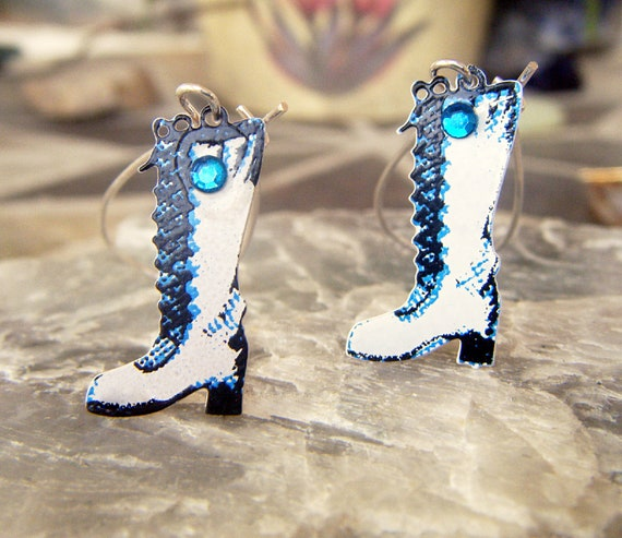 Go Go Boots Earrings with Blue Rhinestones Vintage 1973