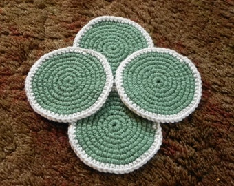 Sage with Ivory Border Coasters - Set of 4
