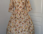 60s dress // vintage 1960s floral print casual day dress large XL
